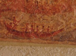 Minoan bronze age ship from the ancient city of Akrotiri on Thera[ Santorini]