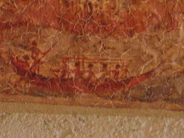 Minoan bronze age ship from the ancient city of Akrotiri on Thera[ Santorini]