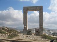 ICONIC RUINS OF THE TEMPLE OF APOLLO WHICH STANDS OVERLOOKING THE HARBOUR ON THE ISLAND OF NAXOS.